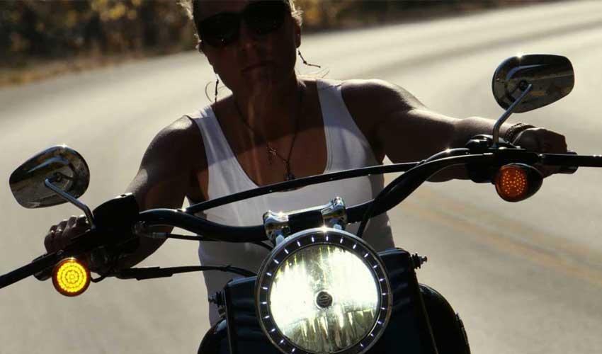 Jaclyn Lanae on motorcycle
